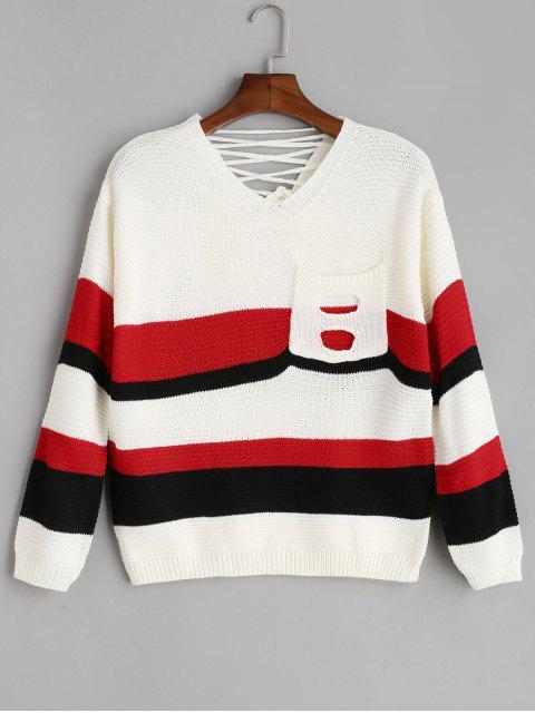 Pocket Schnür-Pullover mit V-Ausschnitt - Weiß Eine Größe Mobile