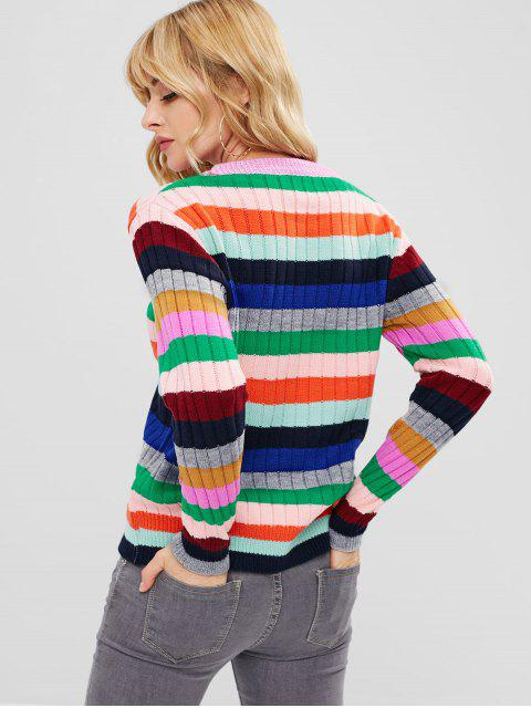 online Colorful Striped Pullover Sweater - MULTI-B ONE SIZE Mobile