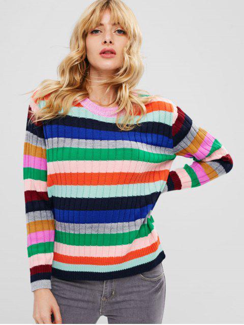 Bunter gestreifter Pullover - Multi-B Eine Größe Mobile