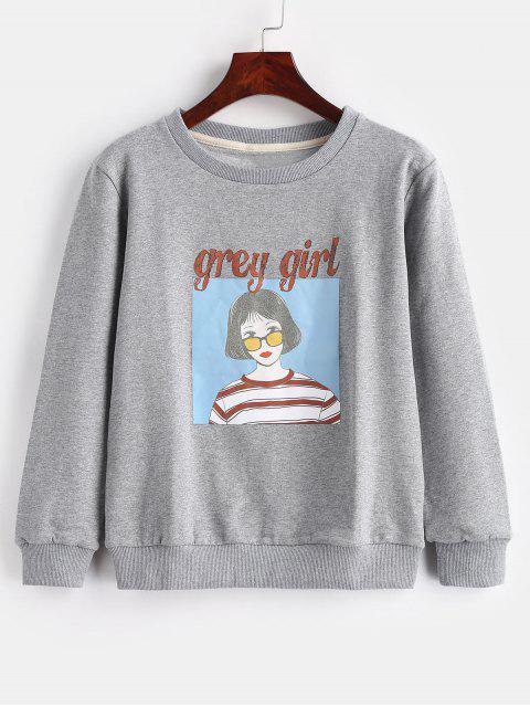 Buchstabe-Mädchen-Muster-Pullover-Sweatshirt - Grau L Mobile