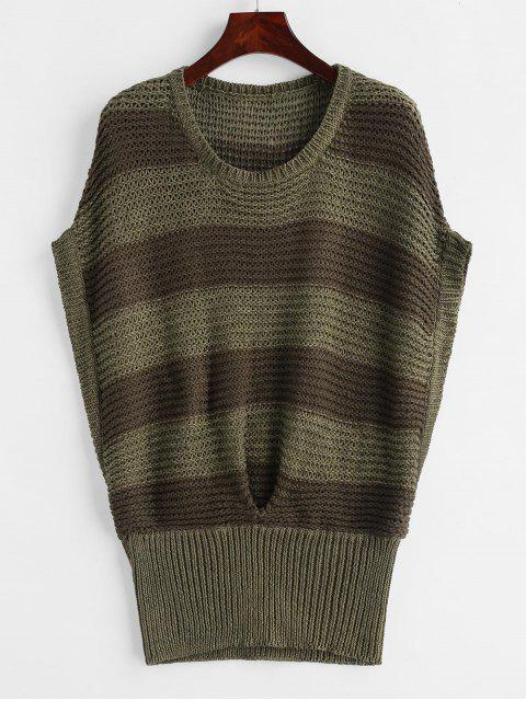 fancy Batwing Stripes Vest Sweater - MULTI-A ONE SIZE Mobile
