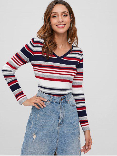 Bunter gestreifter V-Ausschnitt Pullover - Multi Eine Größe Mobile