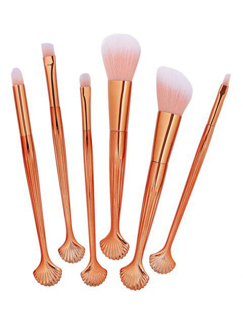 women's Cosmetic Shell Shaped Blush Eyeshadow Eyebrow Travel Makeup Brush Set - MULTI-A  Mobile