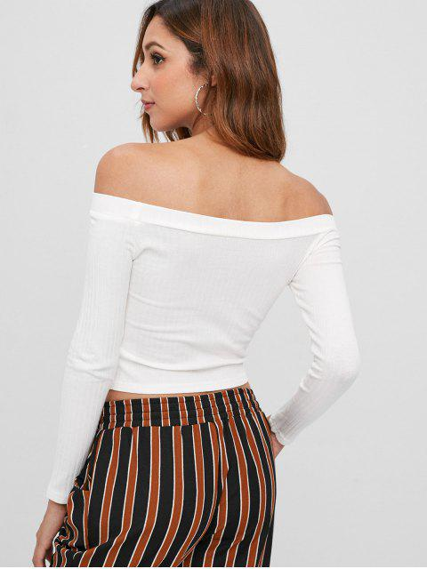hot Knitted Off Shoulder Crop Tee - WHITE M Mobile