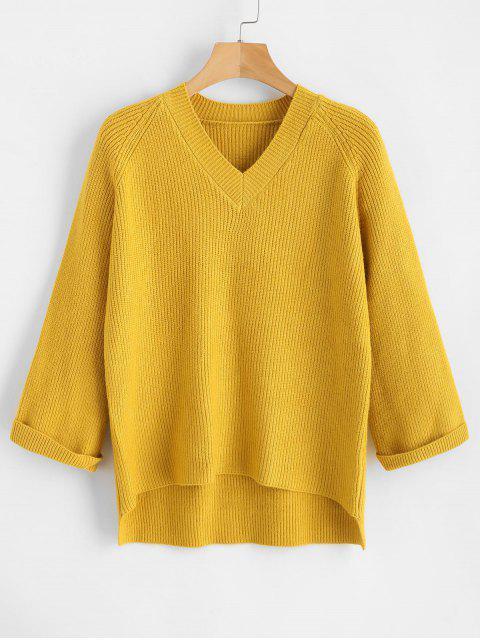 Raglan Ärmel High Low V-Ausschnitt Pullover - Goldgelb Eine Größe Mobile