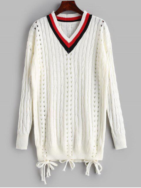 Durchbrochener Zopfmuster-Tunika-Pullover - Weiß Eine Größe Mobile