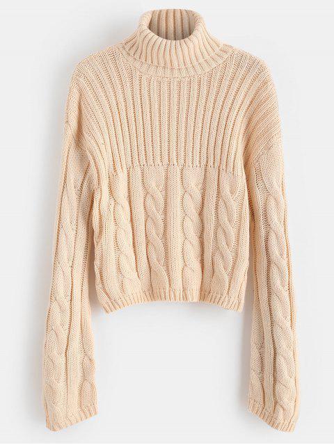 Drop Schulter Rollkragen lose Pullover - Sakura Rosa Eine Größe Mobile