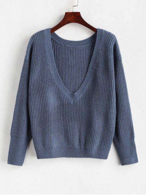 Loser Plain V-Ausschnitt Pullover - Marmor Blau Eine Größe Mobile