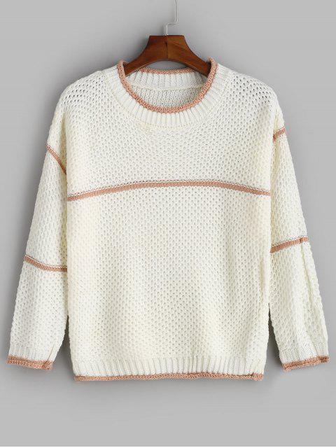 Kontrastbund Crewneck Sweater - Weiß Eine Größe Mobile
