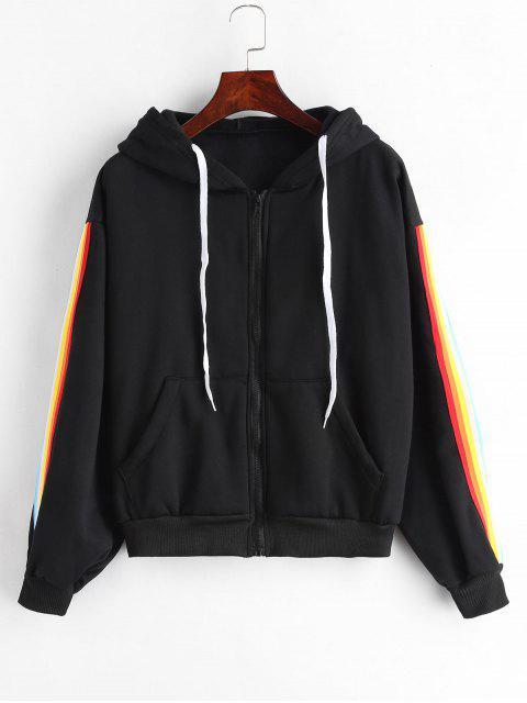 Veste à capuche en laine polaire à rayures - Noir S Mobile