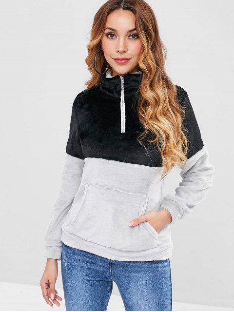 Two Tone Plüsch Sweatshirt - Schwarz L Mobile