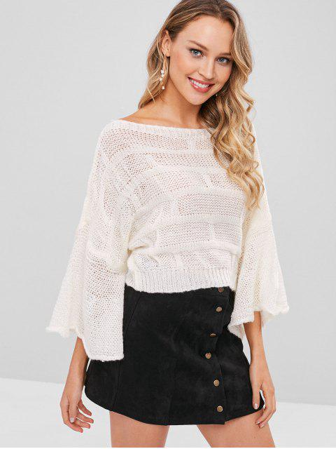 sale Bell Sleeve Batwing Sweater - WHITE ONE SIZE Mobile