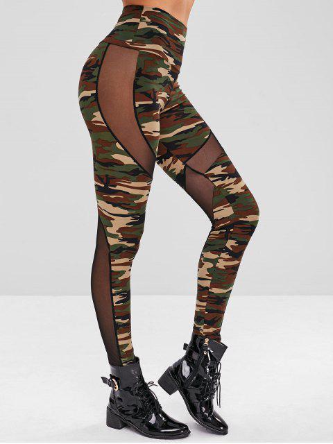 Legging Camouflage Imprimé Panneau en Maille - ACU Camouflage Taille Unique Mobile