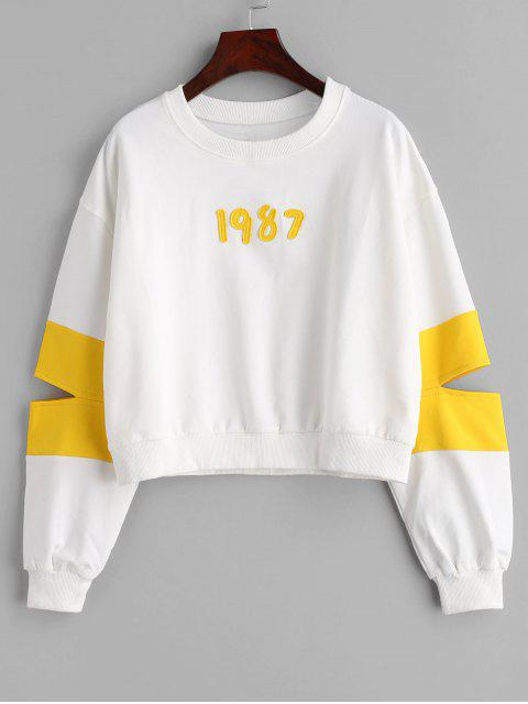 Sweat-shirt à deux tons - Blanc Taille Unique Mobile