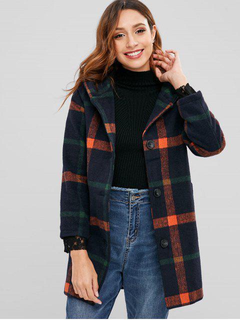 Manteau en fausse laine à carreaux Pom Pom Hood - Orange L Mobile