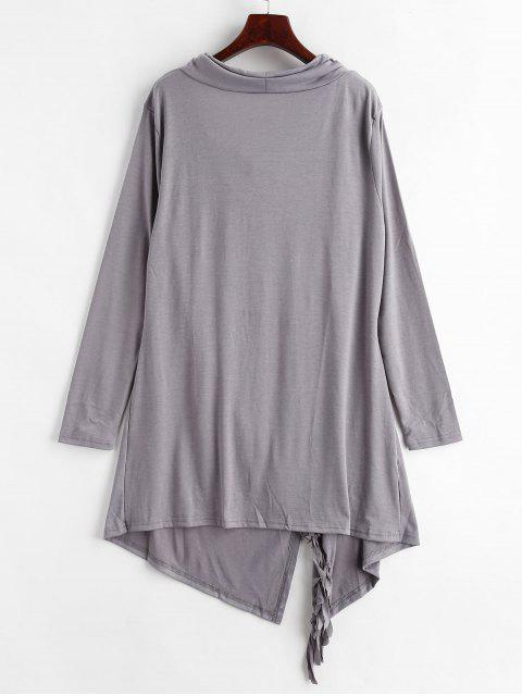 womens Cowl Neck Tassels Tunic Top - CARBON GRAY M Mobile