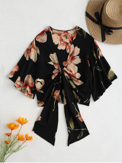 Blouse courte à fleurs - Noir M Mobile