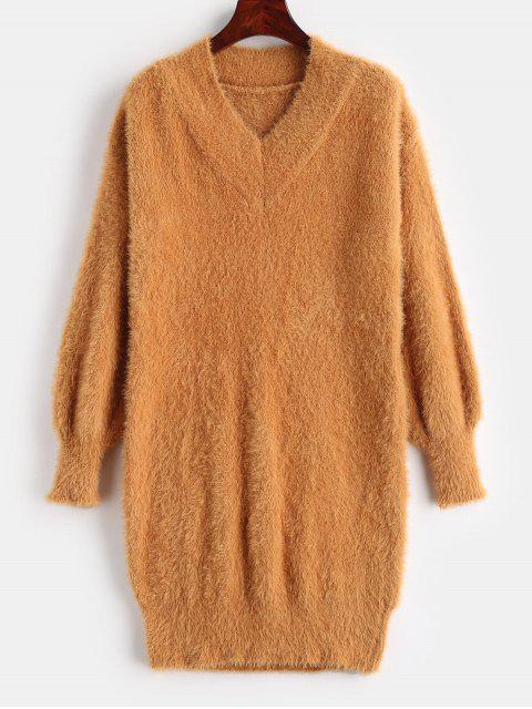 Mini vestido de cuello suéter borroso - Naranja Oscuro Única Talla Mobile