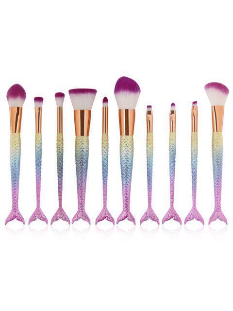 Ensemble de Brosse de Maquillage Cosmétique Ultra-Douce avec Manche en Forme de Sirène 10 Pièces - Multi-B  Mobile