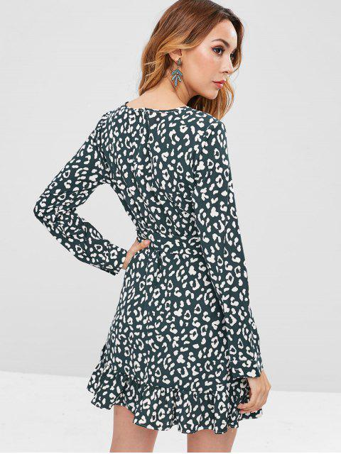 womens ZAFUL Printed Belted Ruffles Mini Dress - DARK FOREST GREEN S Mobile