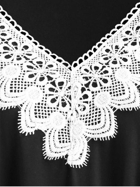 Robe Tunique à Brodure au Crochet de Grande Taille - Noir 3X Mobile