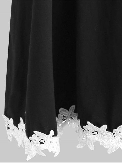 online Crocheted Trim Plus Szie Tunic Dress - BLACK 2X Mobile
