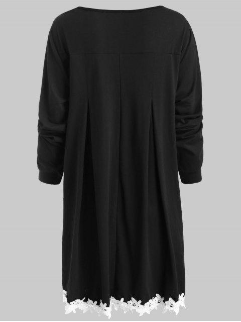outfits Crocheted Trim Plus Szie Tunic Dress - BLACK 4X Mobile