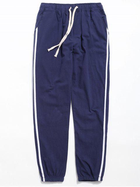 women Drawstring Side Stripe Casual Pants - BLUE XL Mobile