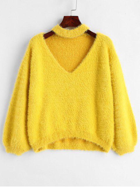Textured Halsband Pullover - Gelb Eine Größe Mobile