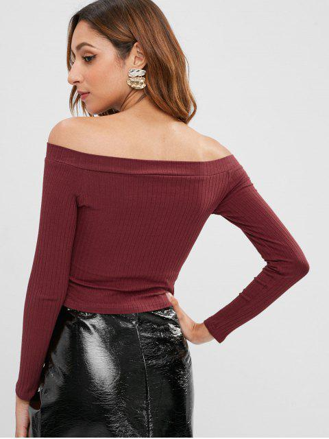 lady Knitted Off Shoulder Crop Tee - RED WINE S Mobile