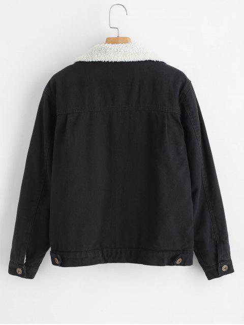 Manteau Peau de Mouton avec Bouton en Avant - Noir M Mobile