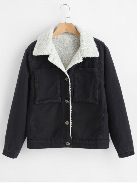 Manteau en peau de mouton boutonné devant - Noir M Mobile