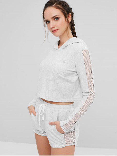 best ZAFUL Fishnet Cutout Crop Hoodie - PLATINUM L Mobile