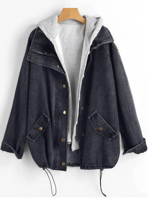 fancy Button Up Denim Jacket and Hooded Vest - BLACK XL Mobile