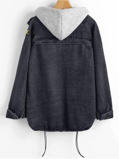 Chaqueta vaquera con botones y chaleco con capucha - Negro XL Mobile
