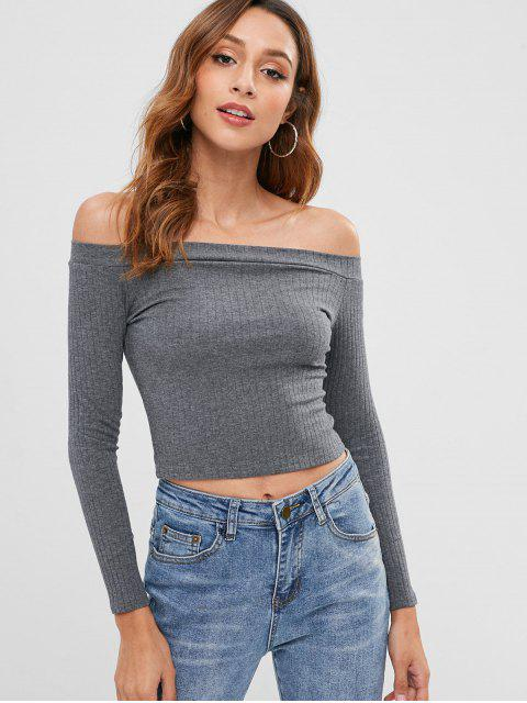 shops Knitted Off Shoulder Crop Tee - GRAY M Mobile