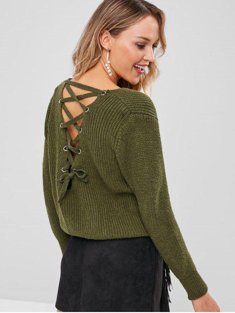 V-Ausschnitt Schnür-Pullover - Armeegrün Eine Größe Mobile