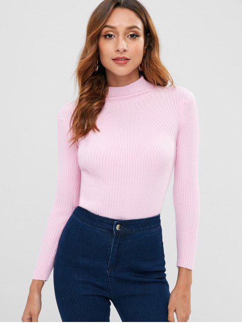 Eng anliegender Pullover mit hohem Kragen - Schwein Rosa Eine Größe Mobile