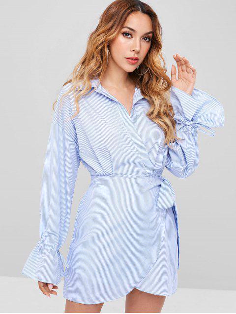 Robe chemise à manches longues à rayures surplis - Bleu Bébé S Mobile