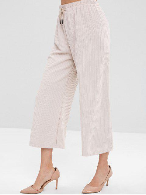 trendy Wide Leg Ribbed Pants - BEIGE ONE SIZE Mobile