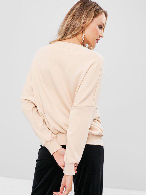new V Neck Graphic Pullover Sweatshirt - LIGHT KHAKI S Mobile