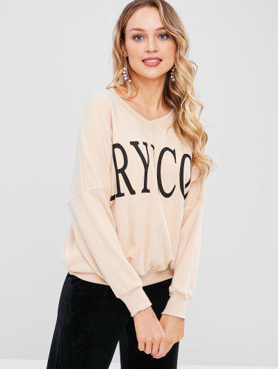 V Neck Graphic Pullover Sweatshirt - Light Khaki M