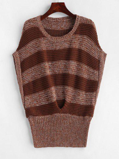 Batwing Stripes Vest Sweater - Multi-b