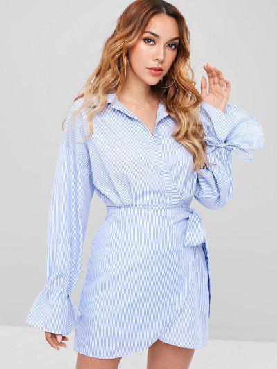 ce13a7b7752 Long Sleeve Surplice Striped Shirt Dress - Baby Blue M