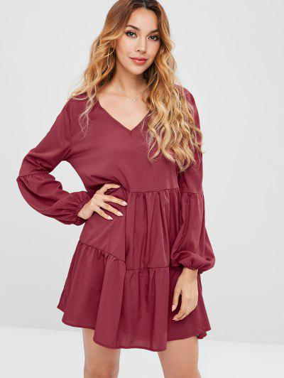 Long Sleeve Tiered Smock Dress - Rose Red S