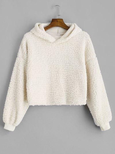 Drop Shoulder Fluffy Boxy Hoodie - Warm White M