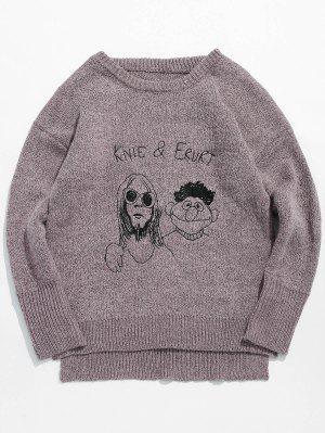 Cartoon Kopf Grafik Knit Pullover