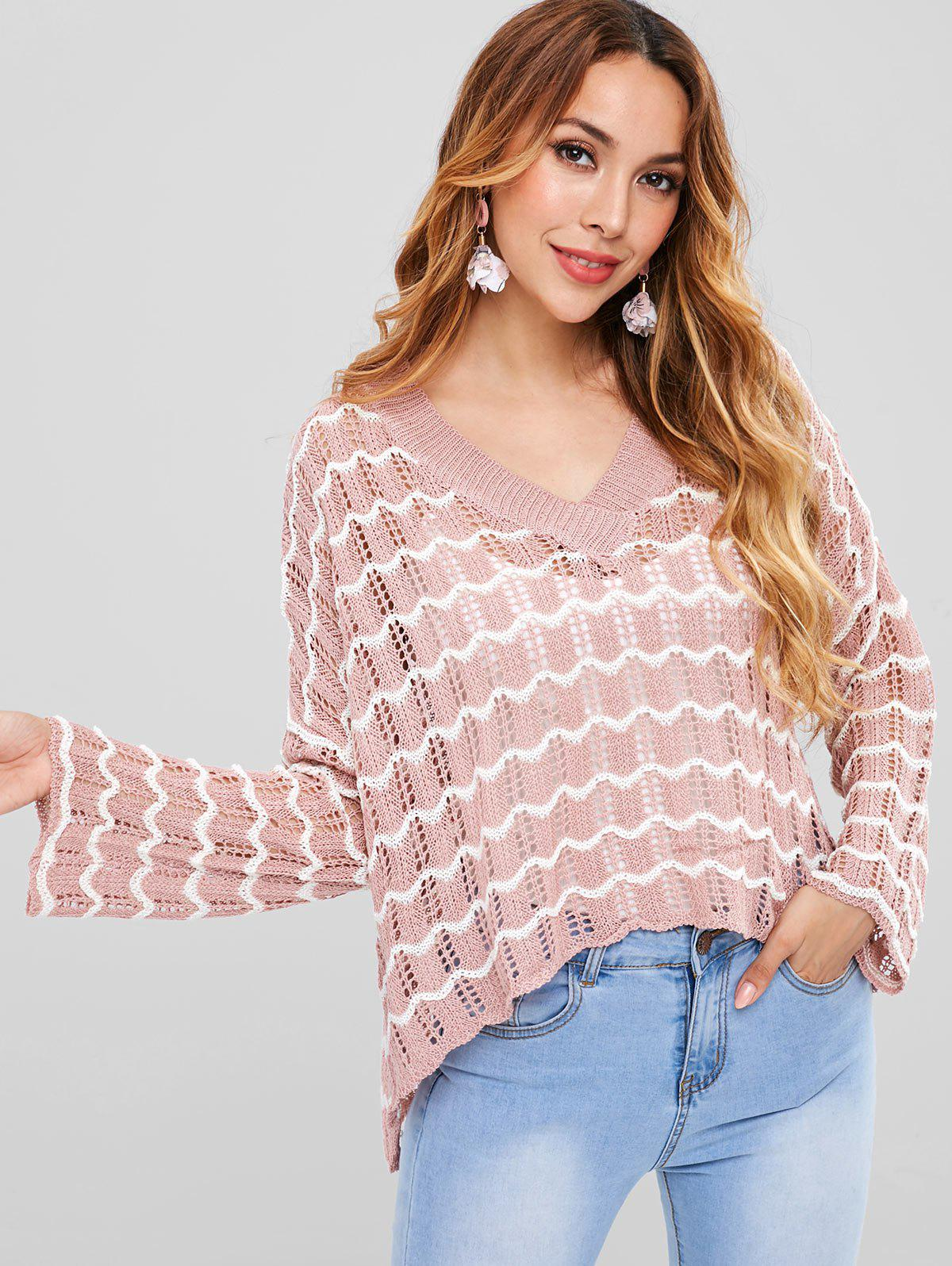 Hollow Out High Low Oversized Sweater, Multi