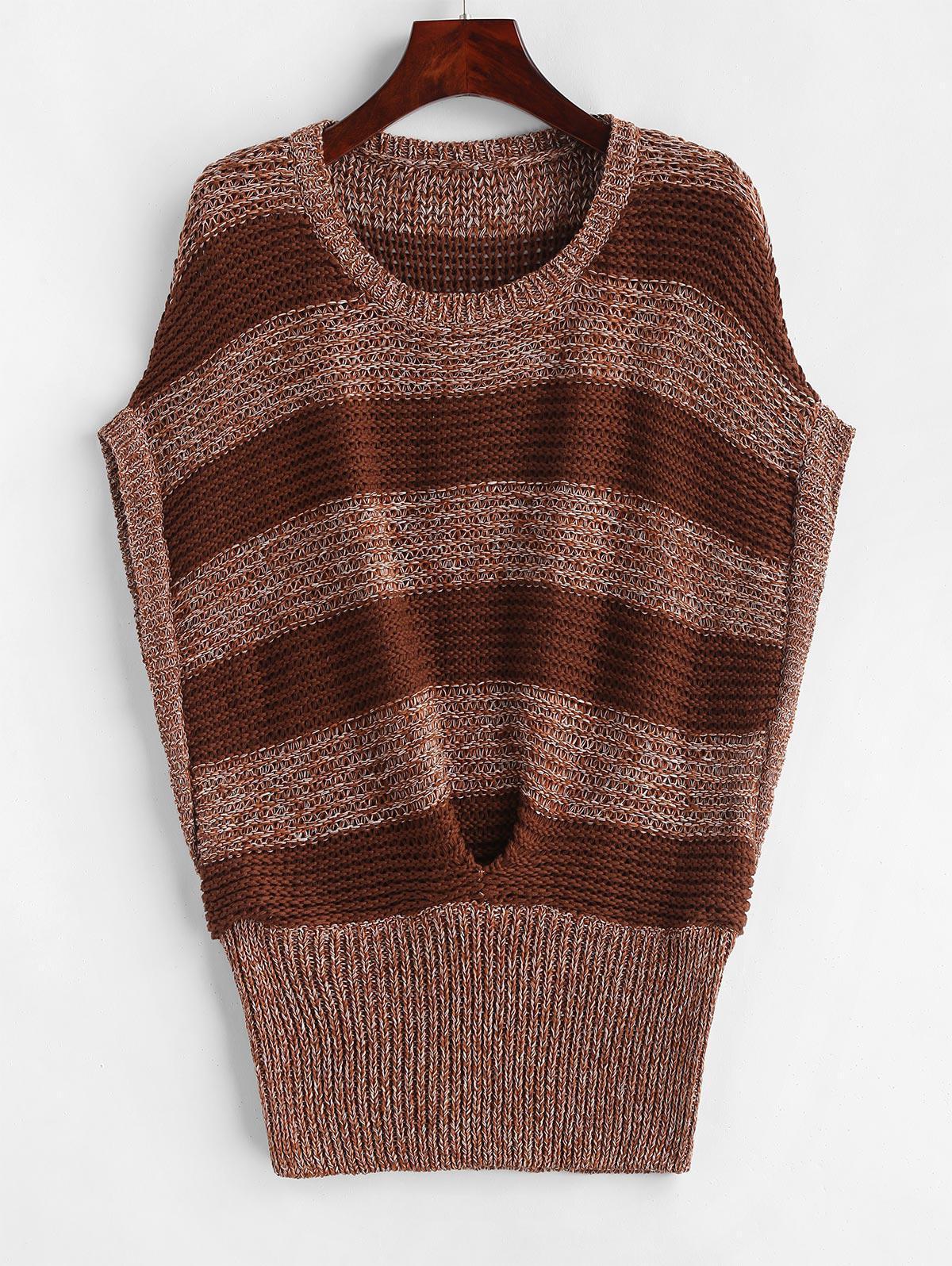 Batwing Stripes Vest Sweater