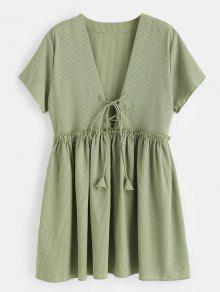 فستان بأربطة دانتيل مخرّم من الدانتيل - التمويه الأخضر L